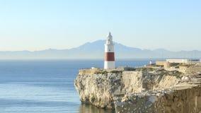 欧罗巴点或三位一体灯塔在直布罗陀 免版税库存图片