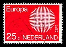 欧罗巴(C e P T ) 1970年-发火焰太阳, serie,大约1970年 免版税图库摄影