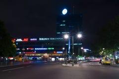 欧罗巴中心是在Breitscheidplatz的一个大厦区 免版税库存照片