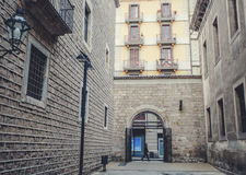 欧罗巴, Barselona,西班牙 老大厦在巴塞罗那 免版税库存图片