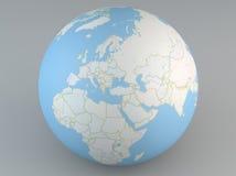 欧洲、中东亚洲和非洲的政治地图地球 免版税库存图片