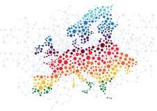 欧洲与小点连接的摘要背景 皇族释放例证
