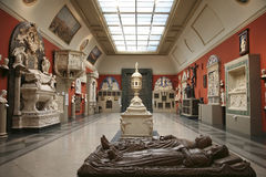 欧洲中世纪艺术大厅的内部在艺术普希金博物馆  免版税库存照片