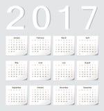 欧洲人2017日历 免版税库存图片