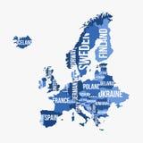 欧洲传染媒介详细的地图有边界的 免版税图库摄影