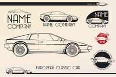 欧洲经典跑车,剪影,商标 库存图片