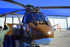 欧洲直升机公司AS532美洲狮正面图显示 免版税库存照片