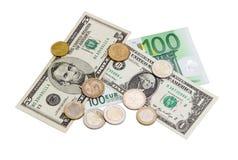 欧洲和美国美元几枚钞票和硬币  库存照片