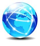 欧洲和非洲,全球性通信行星数据 免版税库存图片