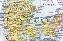 欧洲国家丹麦地理地图有重要城市的 免版税库存图片