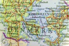欧洲国家丹麦地理地图有重要城市的 库存图片