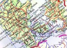 欧洲国家丹麦地理地图有重要城市的 免版税库存照片