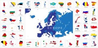 欧洲国家旗子地图 免版税库存照片