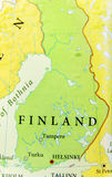 欧洲国家芬兰地理地图有重要城市的 库存照片