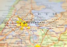 欧洲国家荷兰地理地图有阿姆斯特丹首都的 免版税库存照片