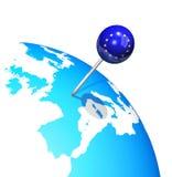欧洲地图地球 免版税库存照片