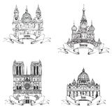 欧洲城市标志剪影收藏:巴黎,伦敦,罗马,莫斯科 库存照片