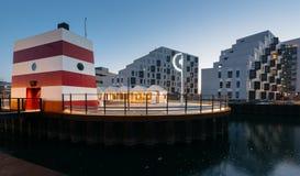 欧登塞室外港口游泳池,丹麦 免版税库存图片