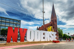 欧登塞,丹麦- 2015年8月11日:NYODENSE streetart 库存图片