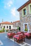 欧洲室外咖啡馆的美丽的景色 免版税库存照片