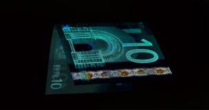 欧洲货币& x28; 钞票& x29;在紫外光保护 库存图片