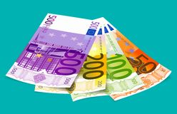 欧洲500张背景银行的钞票 免版税库存照片