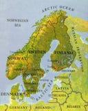 欧洲斯堪的纳维亚部分关闭地理地图  库存图片