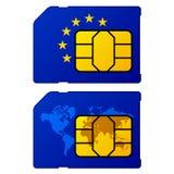 欧洲旗子世界地图sim卡片 图库摄影