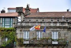 欧洲旗子在孔波斯特拉的圣地牙哥,西班牙 库存照片