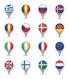 欧洲旗子尖 免版税库存图片