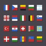欧洲旗子象集合地铁样式 免版税库存照片