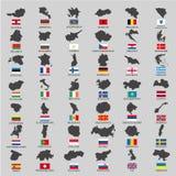 欧洲有旗子的国家疆土 库存图片