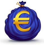 欧洲标志货币袋子 库存图片
