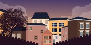 欧洲样式家住宅在村庄城内住宅里 库存照片