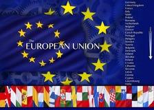 欧洲-欧盟的国家和旗子 库存图片