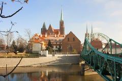 欧洲 波兰 弗罗茨瓦夫桥梁 免版税图库摄影