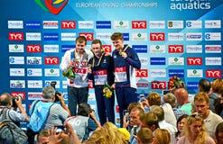 欧洲潜水冠军2017年优胜者仪式,基辅,乌克兰, 免版税图库摄影