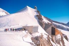 欧洲狮身人面象观测所/少女峰/Jungfraujoch/上面  图库摄影