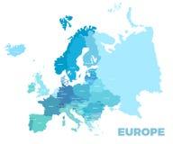 欧洲现代详细的地图 向量例证