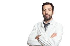 年轻欧洲医生画象被隔绝 免版税库存照片