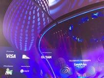 欧洲电视网决赛天 结构有历史的kyiv博物馆室外乌克兰 05 13 2017年 社论 欧洲电视网阶段  免版税库存图片