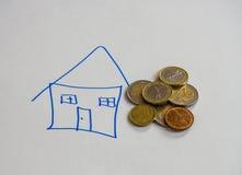 欧洲硬币和房子的图画 免版税图库摄影
