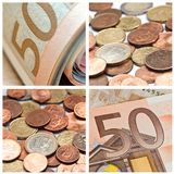 欧洲硬币和钞票拼贴画 免版税库存照片