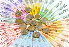欧洲硬币和钞票 免版税图库摄影