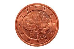 欧洲硬币在白色背景隔绝的两分 宏指令pi 免版税库存图片