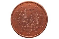 欧洲硬币在白色背景隔绝的五分 宏指令 库存图片