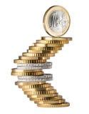 欧洲硬币标志堆 库存照片
