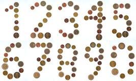 欧洲硬币编号拼贴画 免版税库存图片
