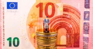 欧洲硬币,图,钞票 库存图片