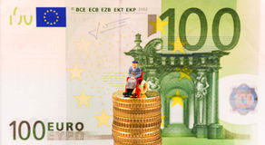 欧洲硬币,图,钞票 库存照片
